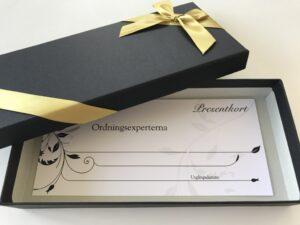 presentkort - struktur & ordning